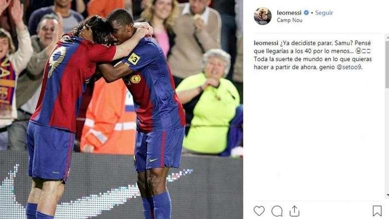 Messi publica mensagem de despedida para Eto'o. Captura/Instagram/leomessi