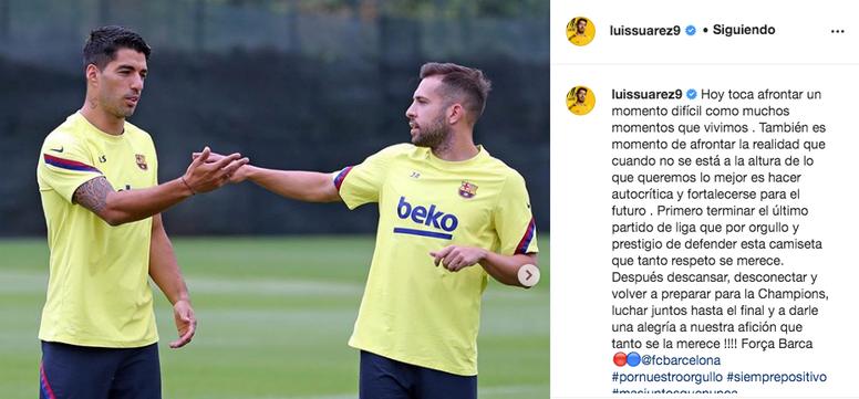 Suárez também fez autocrítica. Instagram/luissuarez9