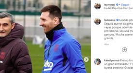 Messi saluta Ernesto Valverde. Instagram/LeoMessi