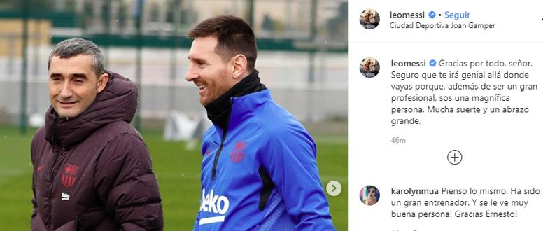 As palavras de agradecimento de Leo Messi a Valverde. Captura/Instagram/LeoMessi