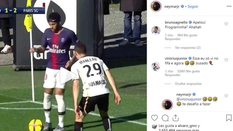 Neymar défie Vincius. Screenshot Instagram/Neymarjr