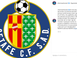 Antunes was furious with the refereeing against Getafe. Instagram/VitorinoAntunes