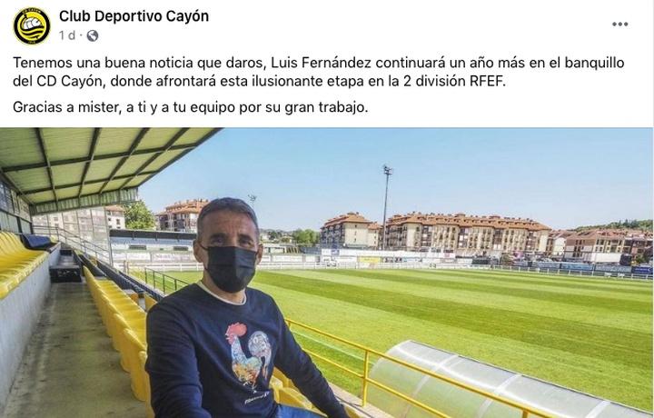 El Cayón mantiene a su técnico. Captura/Facebook/Club Deportivo Cayón