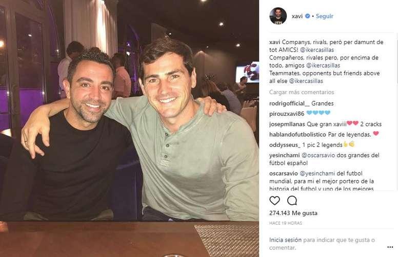 Xavi y Casillas se reencontraron en Moscú. Instagram/Xavi