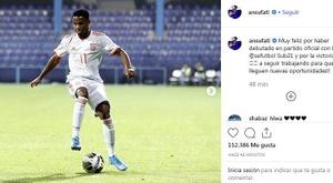 Ansu Fati, satisfeito com estreia pela Espanha. Instagram/ansufati