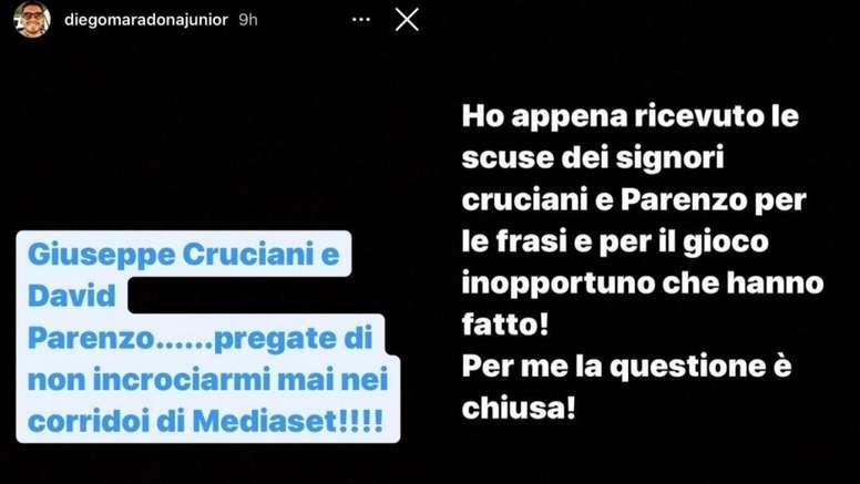 Diego Maradona Junior tuvo un cruce con dos periodistas. Instagram/diegomaradonajunior