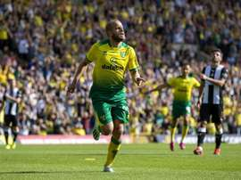 Pukki celebrates after getting another goal. Twitter/NorwichCityFC