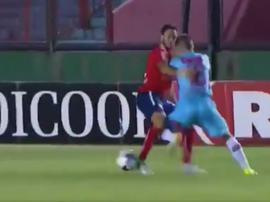 Purita abandonó el campo 14 minutos después del gol. Captura/TNTSports