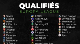 Les 32 qualifiés pour les 16èmes de finale de l'Europa League. AFP