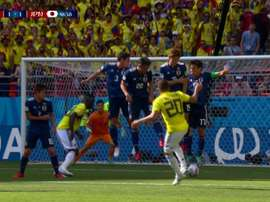 Quintero found the net with a cheeky free-kick. Screenshot/GolCaracol