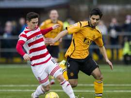 Rabin Omar (R) footballer for Scottish underdogs, Annan Athletic. Twitter