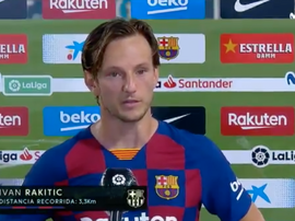 Rakitic habló tras el partido. Captura/Movistar