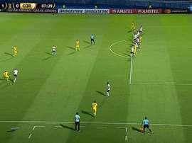 Morel apareceu para empurrar para as redes e colocar o Guaraní na frente. Captura/Sportv