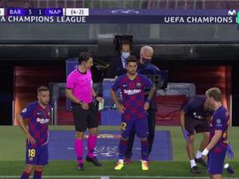 Monchu debutó con el Barcelona. Captura/MovistarLigadeCampeones