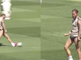 Ramos faz um golaço no treinamento. Captura/Marca