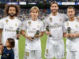 Ramos, Marcelo, Modric e Hazard dedicam seus prêmios ao Bernabéu. Twitter/realmadrid