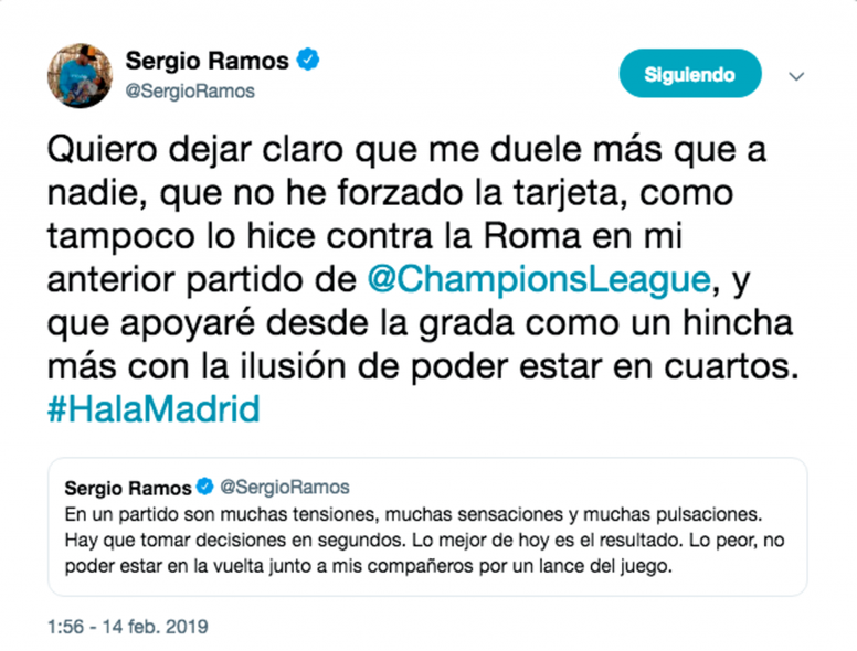 Sergio Ramos explica el asunto de la amarilla. Twitter/SergioRamos