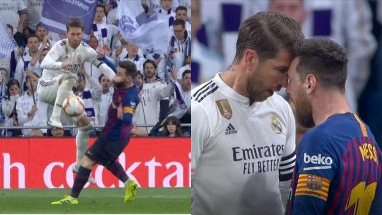 Ramos y Messi se encararon. Capturas/MovistarPartidazo
