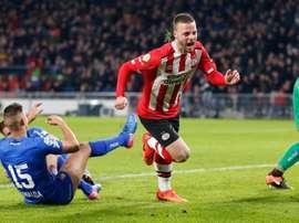 Ramselaar anotó el segundo tanto de su equipo ante el NEC. PSV