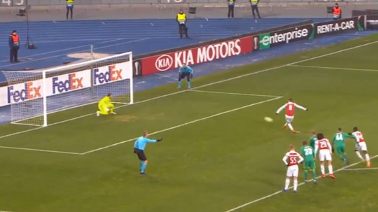 Ramsey slotted a penalty in for Arsenal against Vorskla. Captura