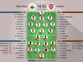 Rapid Wien v Arsenal. Europa League 20/21, 22/10/2020. Official-line-ups. BeSoccer