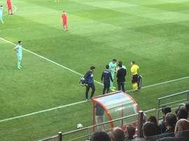 Baena se lesionó en el partido del Granada ante el Numancia. EFE