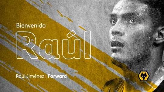 Raúl Jiménez emprestado ao Wolverhampton. Twitter/Wolves