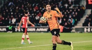Raul Jimenez becomes Wolves' Premier League all-time top scorer. Twitter/Wolves