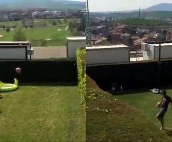 Raúl Navas y Fran Mérida jugaron al fútbol tenis. Capturas/Twitter/RaulNavas22