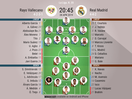Rayo Vallecano v Real Madrid, La Liga 2018/19, 28/04/2019, matchday 35 - Official line-ups. BESOCCER