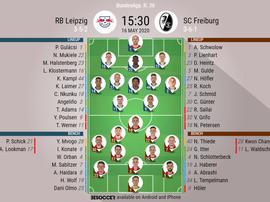 RB Leipzig v Freiburg. Bundesliga 2019/20. Matchday 26, 16/05/2020-official line.ups. BESOCCER