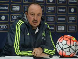 Real Madrid coach Rafa Benitez addresses a press conference at the conclusion of a team training session ahead of the International Champions Cup tournament in Melbourne on July 17, 2015.