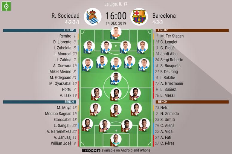 Sociedad v Barcelona, Primera Division 2019/20, matchday 17 14/12/2019 - official line.ups. BESOCCER