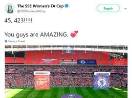 Récord de asistencia en la final de la FA Cup femenina. Twitter/SSEWomensFACUP