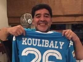 Maradona quiso apoyar a Koulibaly. Instagram/Maradona