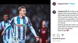 A gratidão no adeus de Odegaard. Instagram/odegaard.98