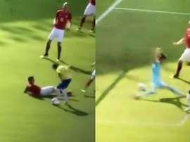 Neymar put an Austria defender on the floor. Captura