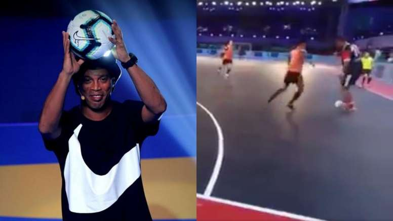La enésima obra de arte de Ronaldinho. EFE/Twitter/Mordu2Foot
