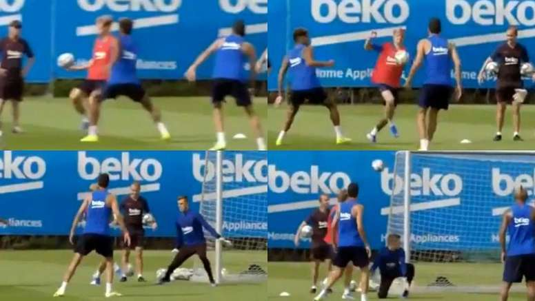 De Jong a dribblé un coéquipier et frappé. Captures/ASTV