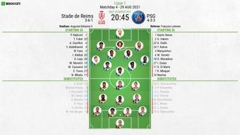 Reims v PSG, Ligue 1 2021/22, matchday 4, 29/8/2021, line-ups. BeSoccer