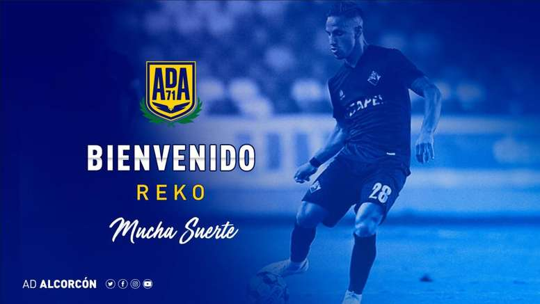 Reko se convirtió este lunes en nuevo jugador del Alcorcón. Twitter/AD_Alcorcon