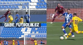 Three Barca players hit the woodwork. Screenshot/Movistar+