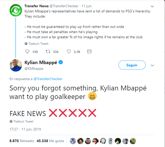 Mbappe laughed off the supposed demands he had made to PSG. Captura/Twitter