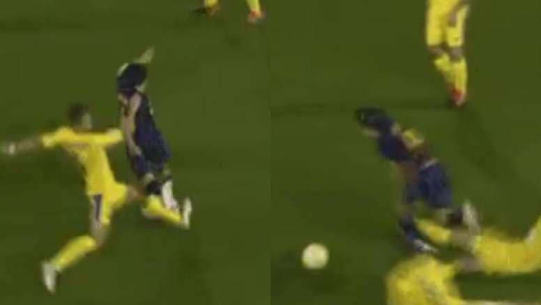Le double tacle qui aurait pu faire très mal à Riqui Puig. Captura/FCBarcelona