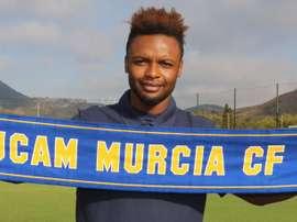 Ritchie Kitoko, en su presentación oficial como jugador del UCAM Murcia. UCAMMurciaCF