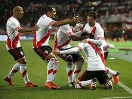 River celebra el gol de Alario. Twitter