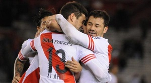 River Plate celebra un gol en el torneo de Argentina. CARPoficial