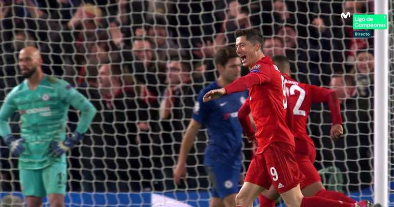 Lewandowski anotó el 0-3. Twitter/MovistarFutbol