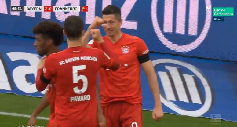 Robert Lewandowski marcou contra o Eintracht de Frankfurt. Captura/Vamos