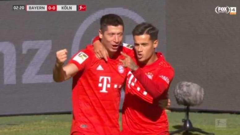 Coutinho, décisif face à Cologne. Capture/FoxSports